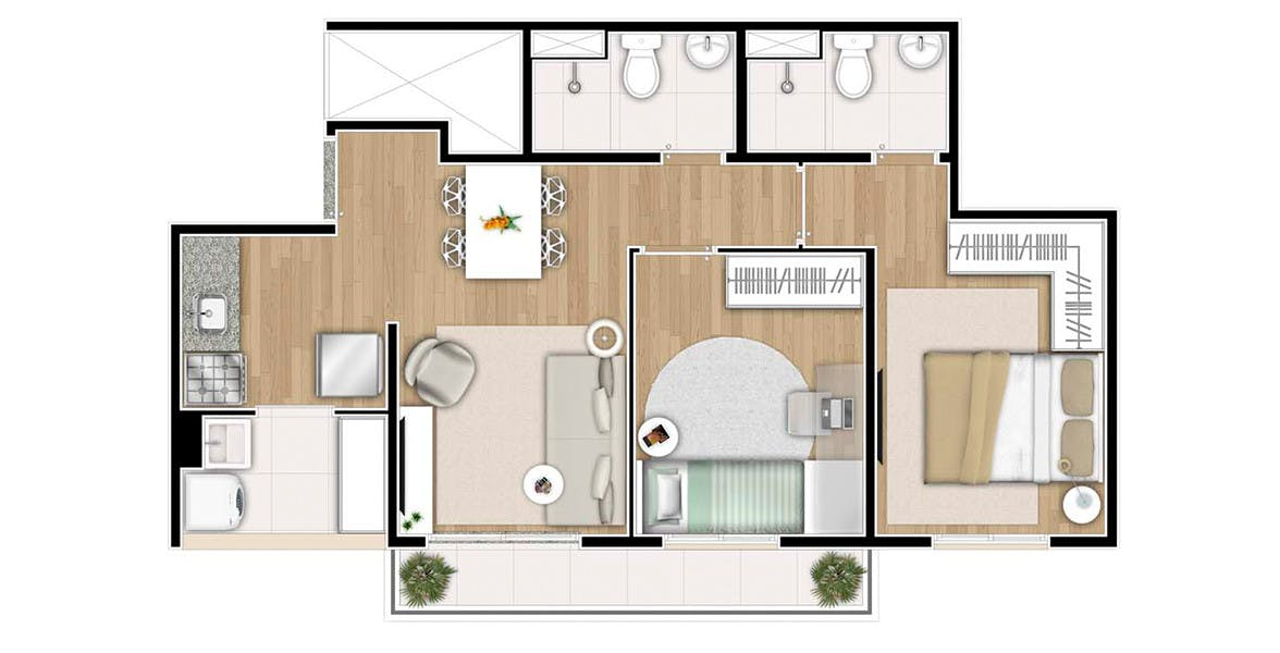 Planta do Viva Mooca. floorplan