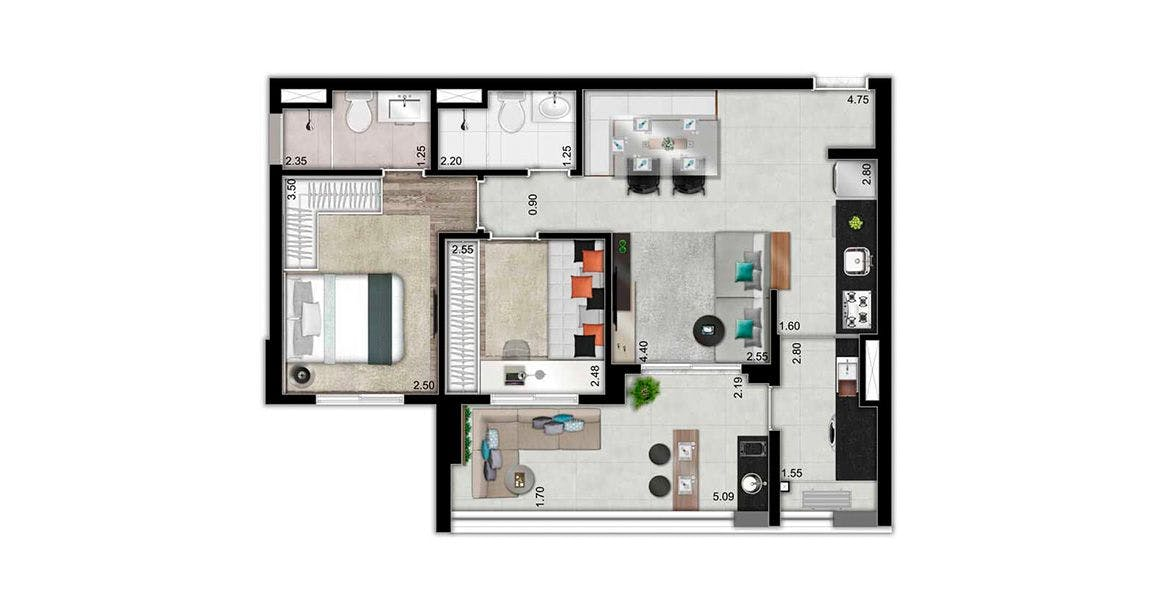 Planta do Expande Vila Mariana. floorplan