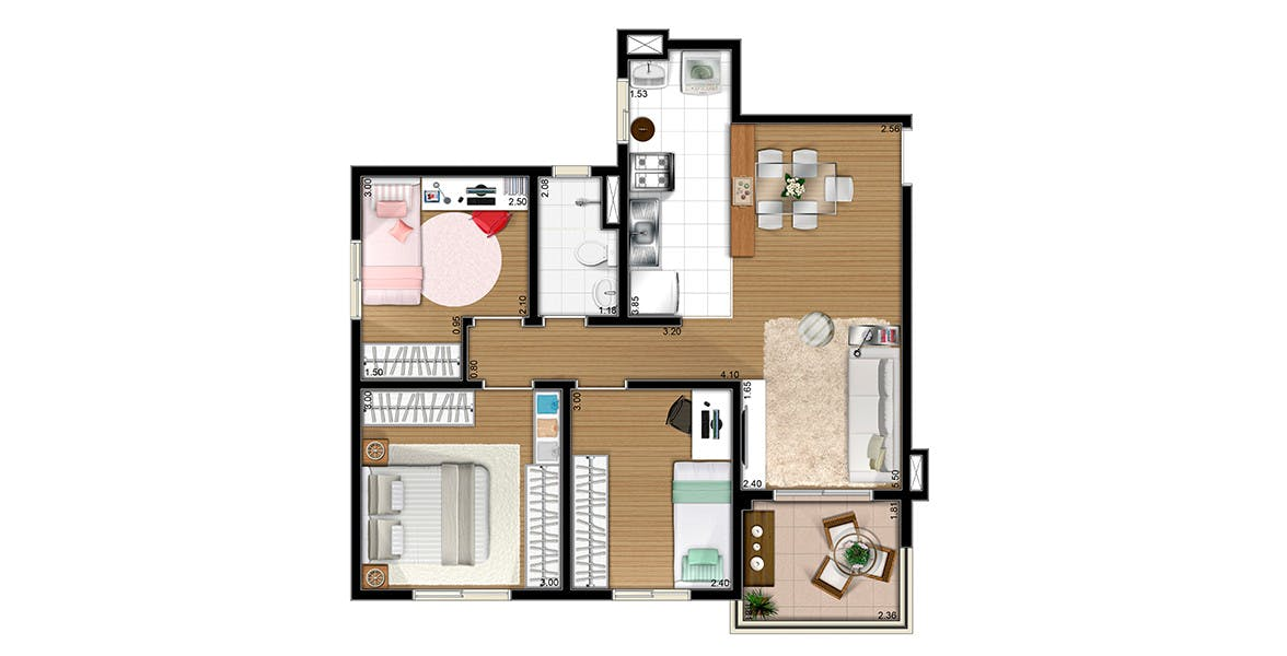 Planta do Flex Diadema. floorplan