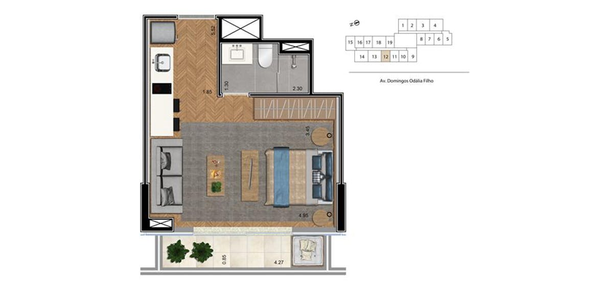 Planta do The CittyPlex Osasco. floorplan