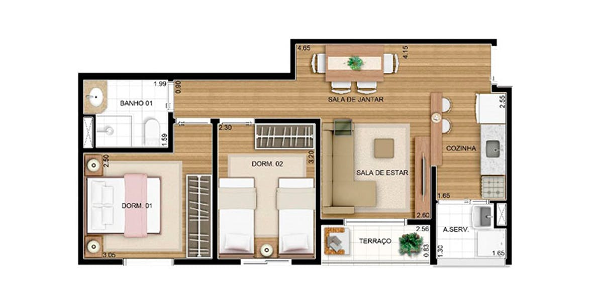 Planta do Fatto Passion Vila Augusta. floorplan