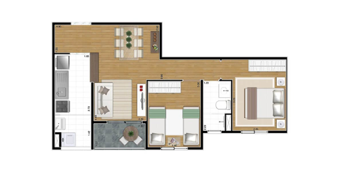 Planta do Villaggio Nova Carrão. floorplan