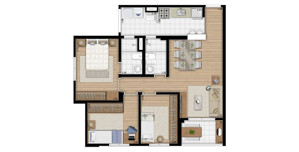 Planta do Alcance Vila Maria. floorplan
