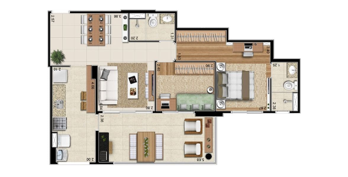 Planta do Tribeca Nova Leopoldina. floorplan