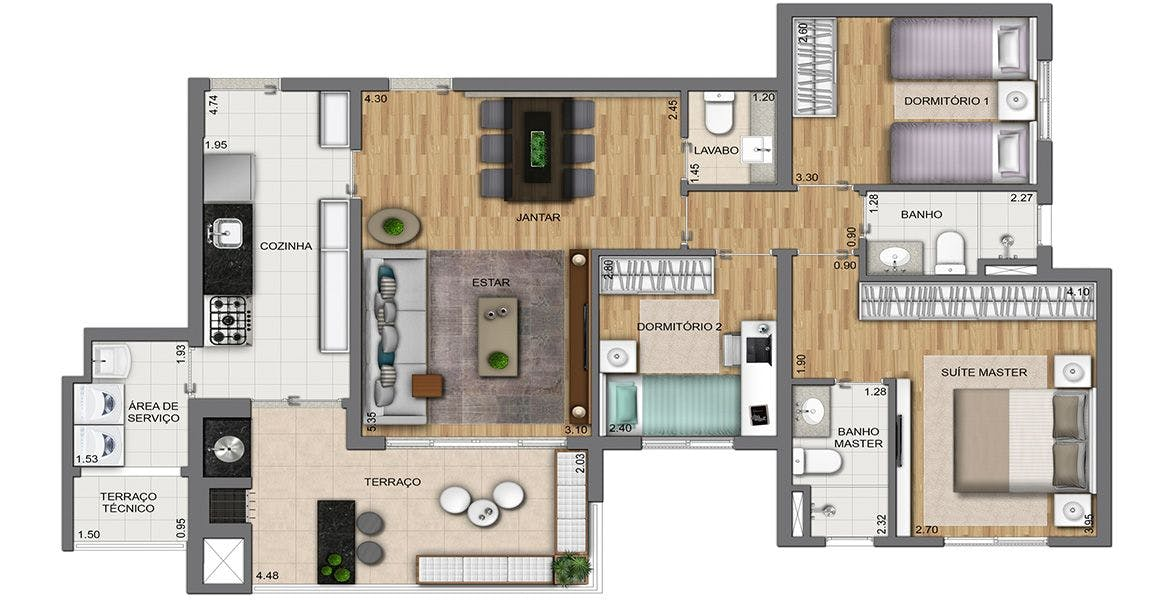 Planta do Essence Prime Living. floorplan