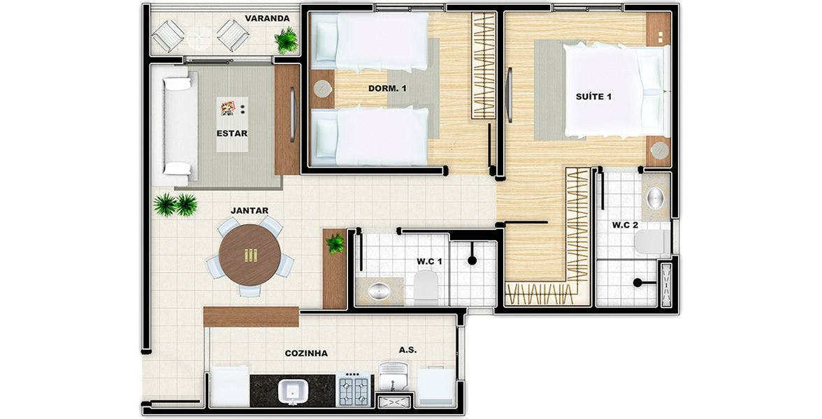 Planta do Vivere Residence. floorplan