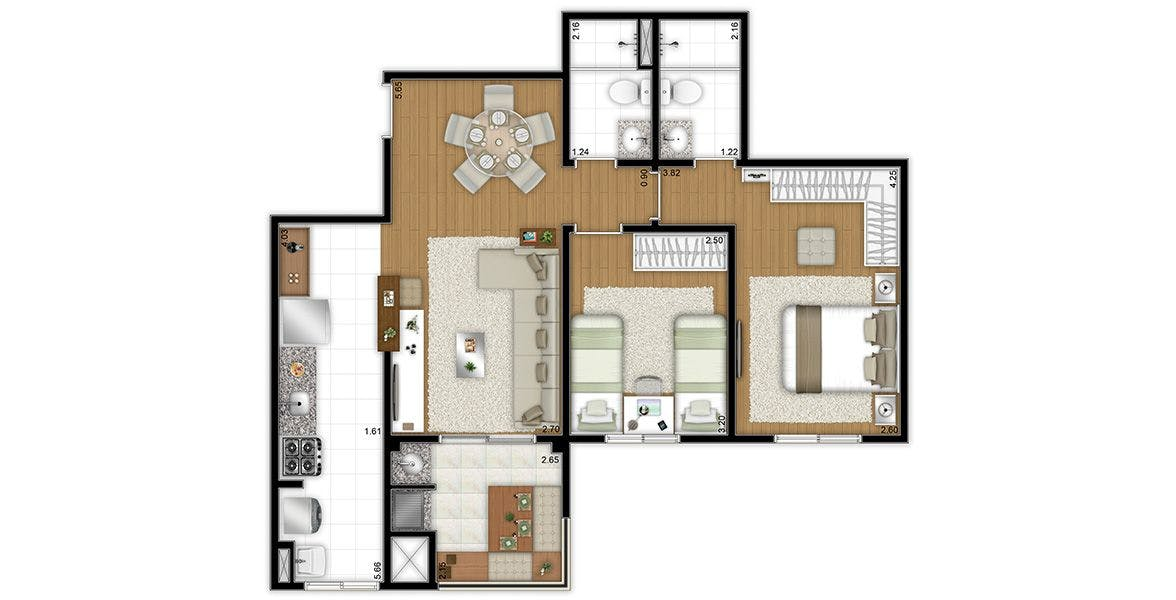 Planta do Flex Jundiaí. floorplan