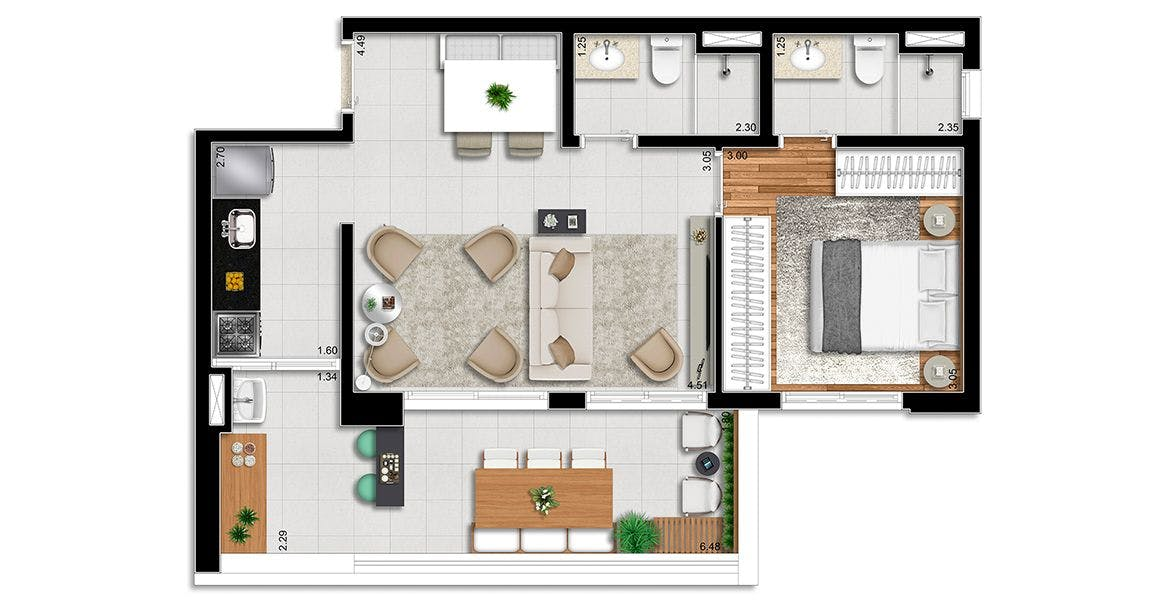 Planta do Wonderful Aclimação. floorplan