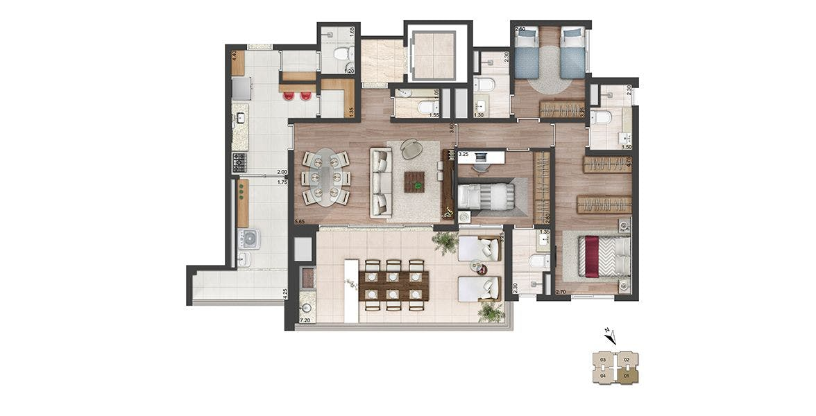 Planta do Quadra Greenwich. floorplan