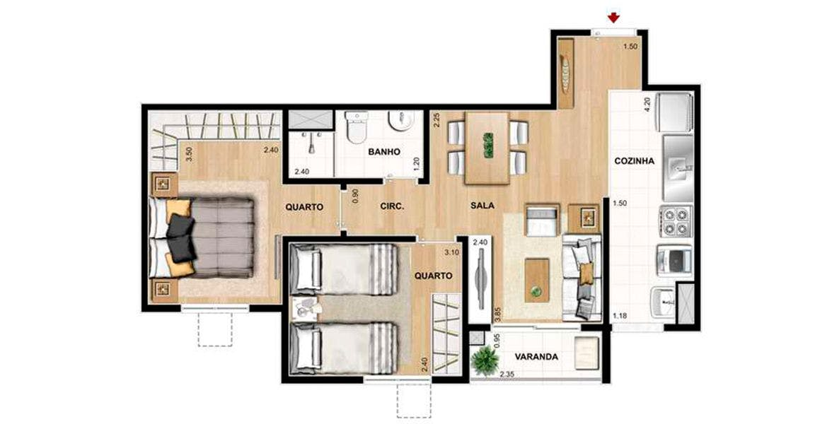 Planta do Exato Residencial. floorplan