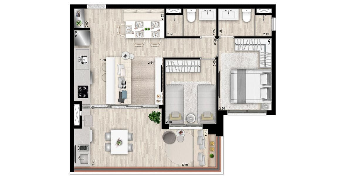 Planta do Atemporal Pompeia. floorplan