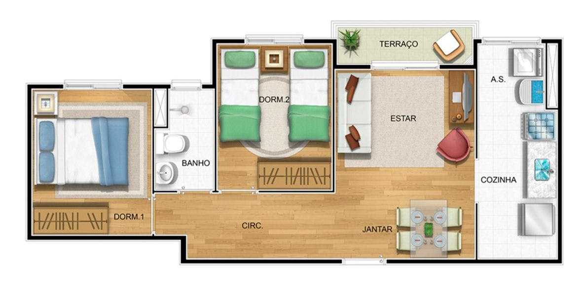 Planta do Residencial Panorama I. floorplan