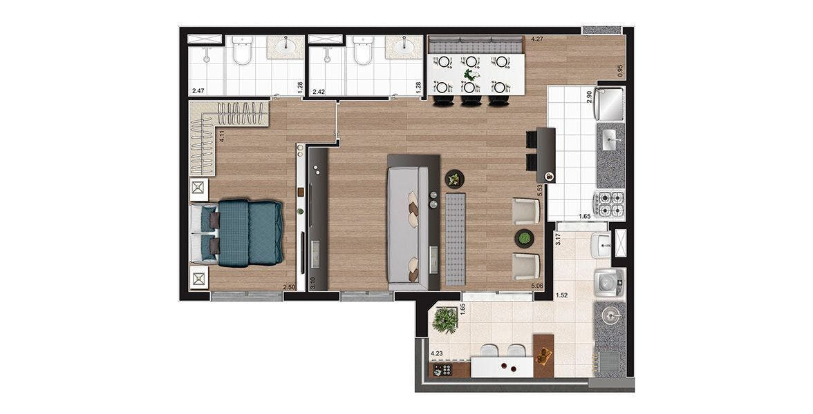 Planta do Horizon Alto da Lapa. floorplan