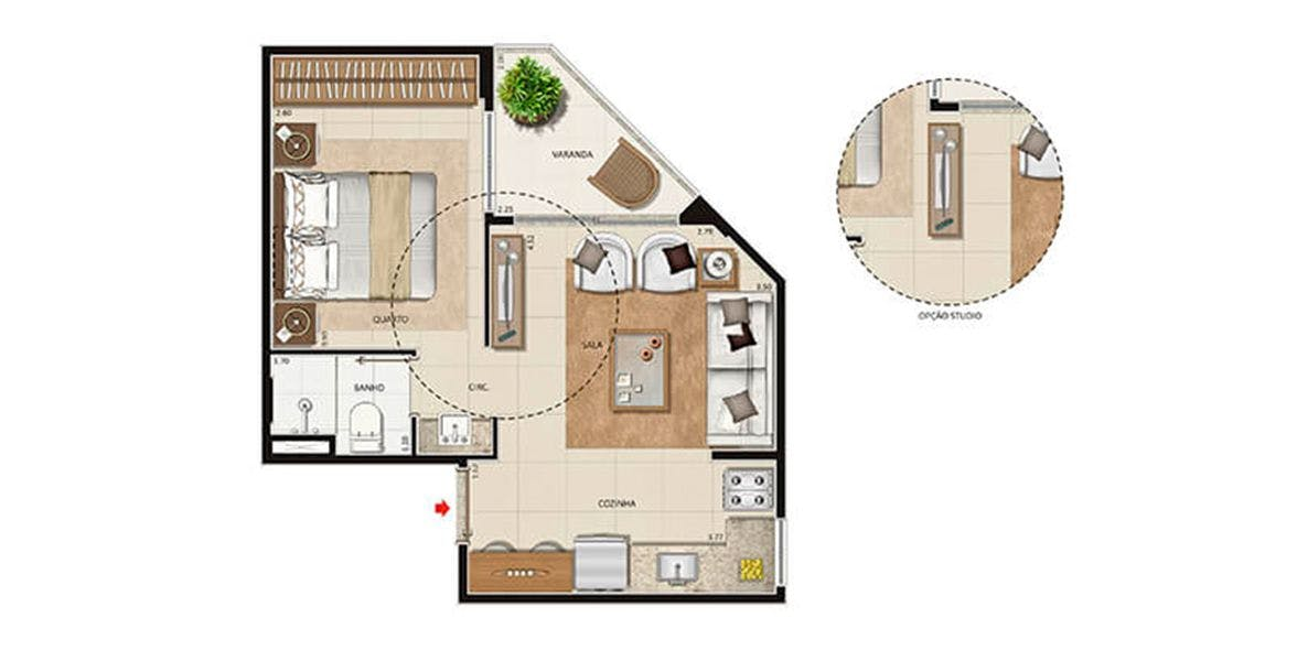 Planta do Studio 6677. floorplan