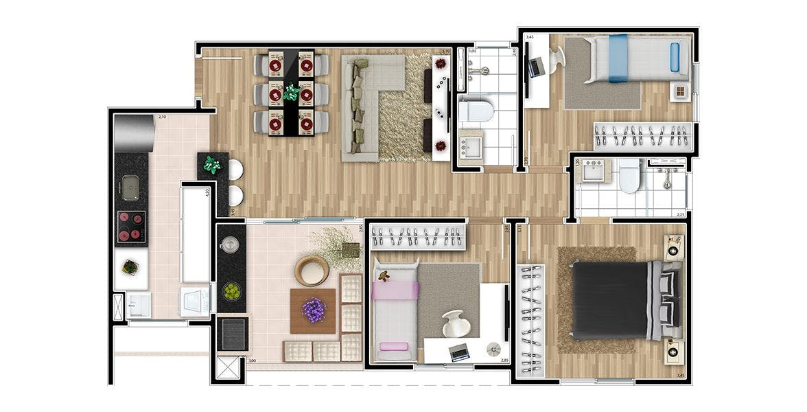 Planta do Bella Roma. floorplan