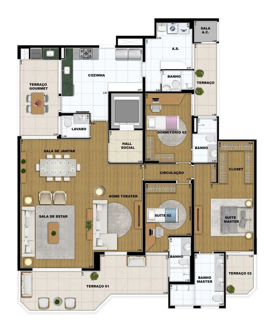Planta do Residencial Zara. floorplan