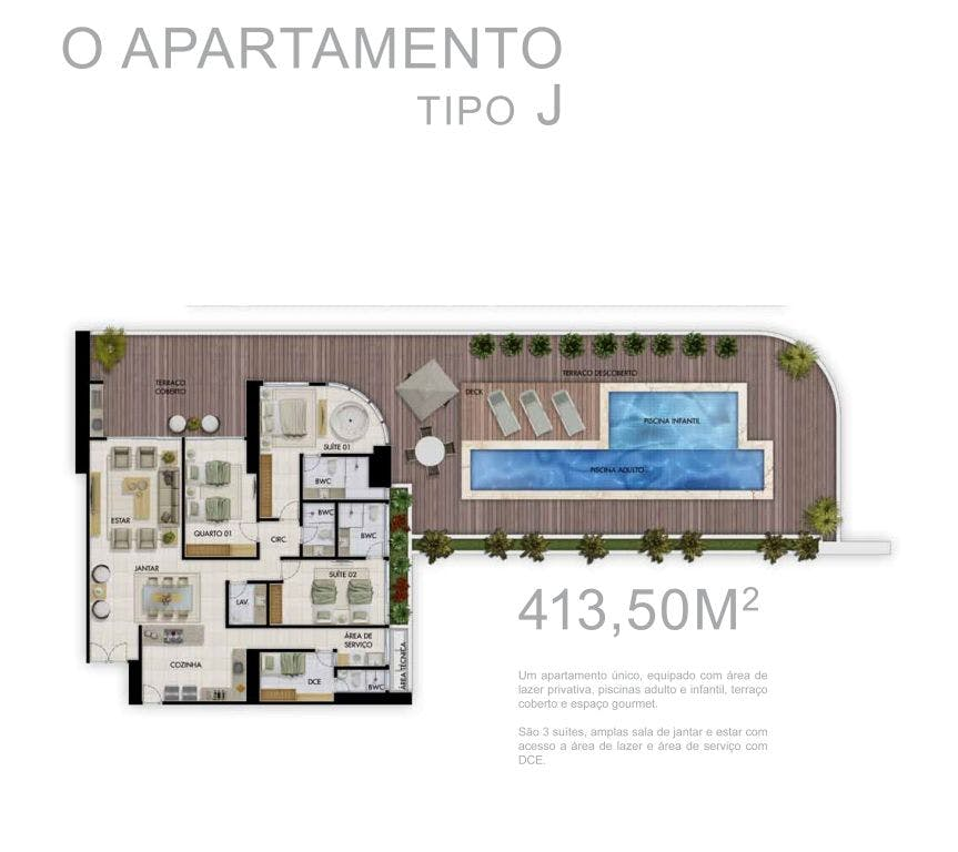 Planta do Complexo Tour Geneve. floorplan
