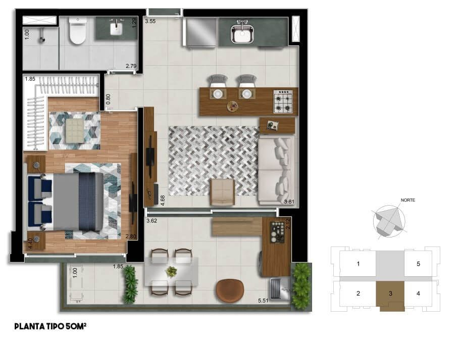 Planta do Estados Unidos 702. floorplan