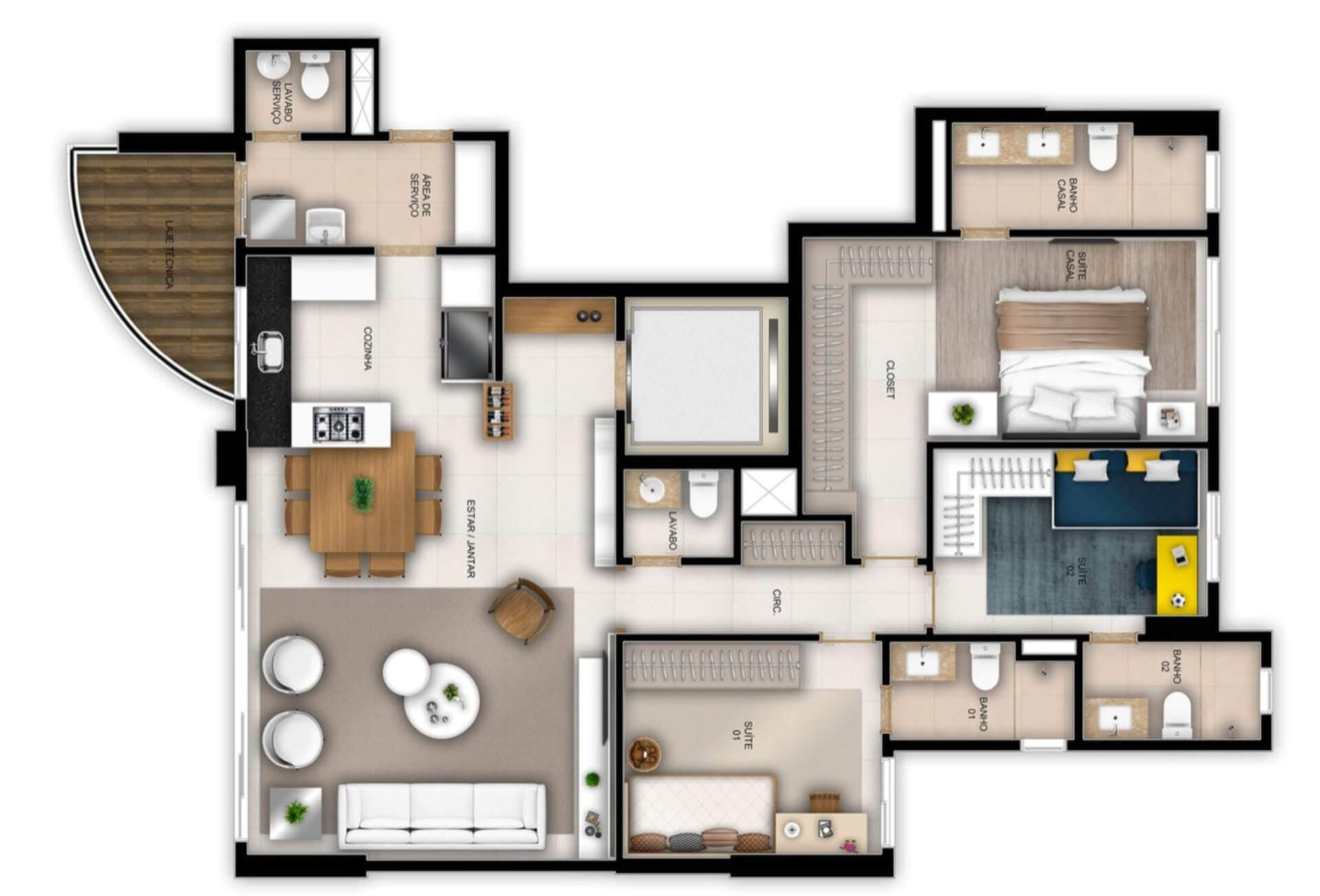 Planta do Fluence Marista. floorplan