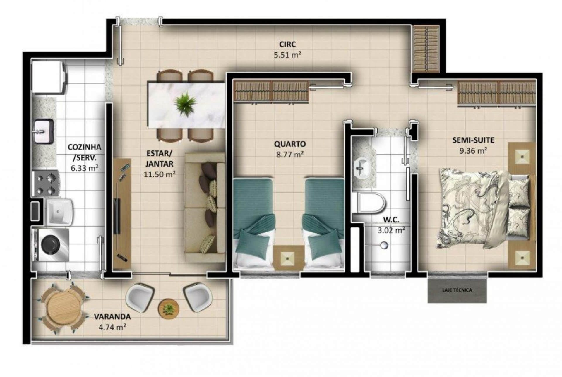 Planta do Aquarela Parque. floorplan