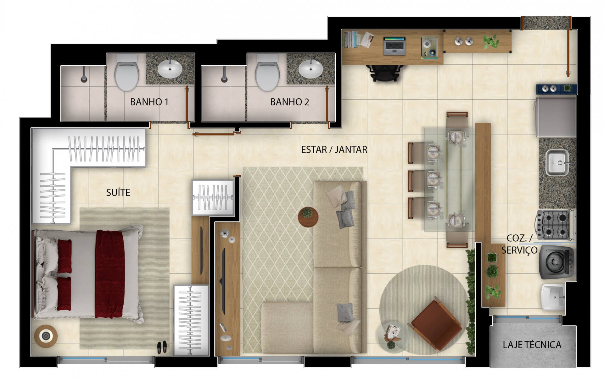 Planta do Duo Sky Garden. floorplan